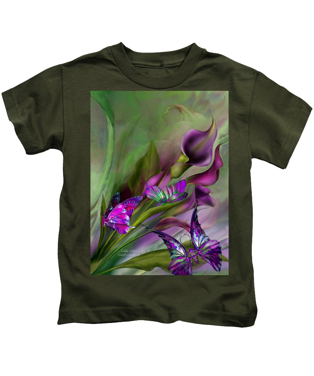 Calla Lilies Kids T-Shirt featuring the mixed media Calla Lilies by Carol Cavalaris