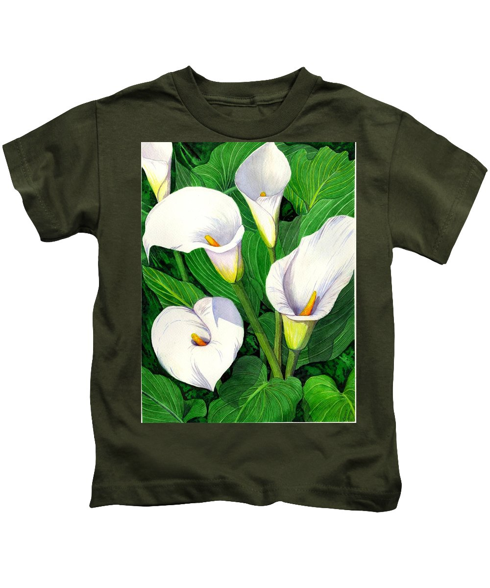 Lily Kids T-Shirt featuring the painting Calla Lilies by Catherine G McElroy