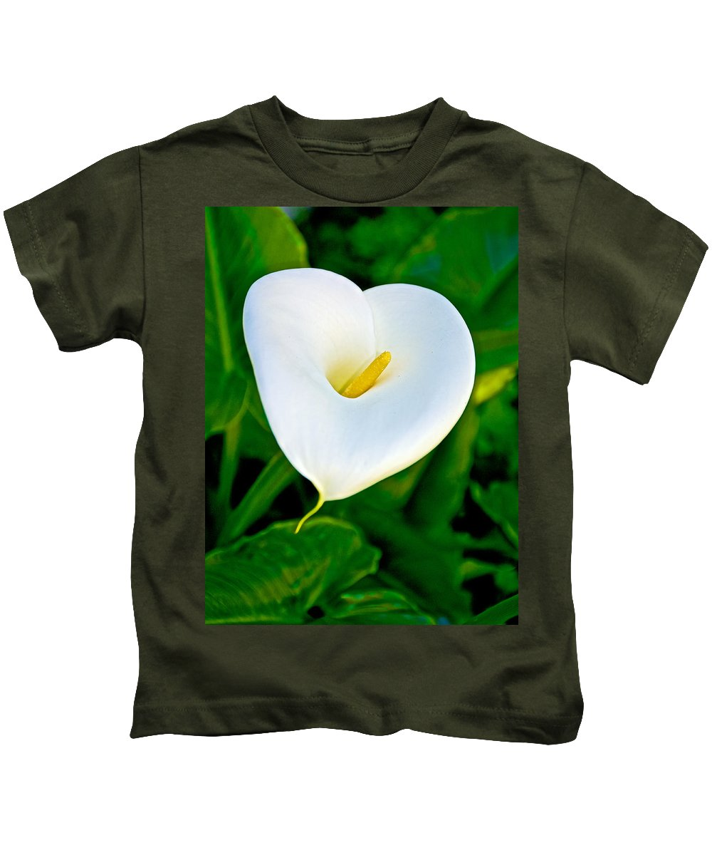 Calla Lily Closeup In February At Pilgrim Place In Claremont Kids T-Shirt featuring the photograph Calla Lily Closeup At Pilgrim Place In Claremont-california by Ruth Hager