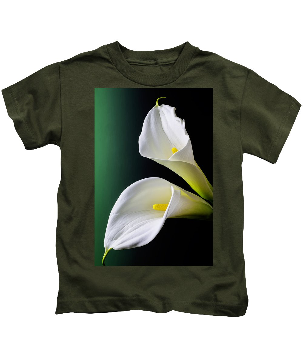 Graphic Kids T-Shirt featuring the photograph Calla Lily Green Black by Garry Gay