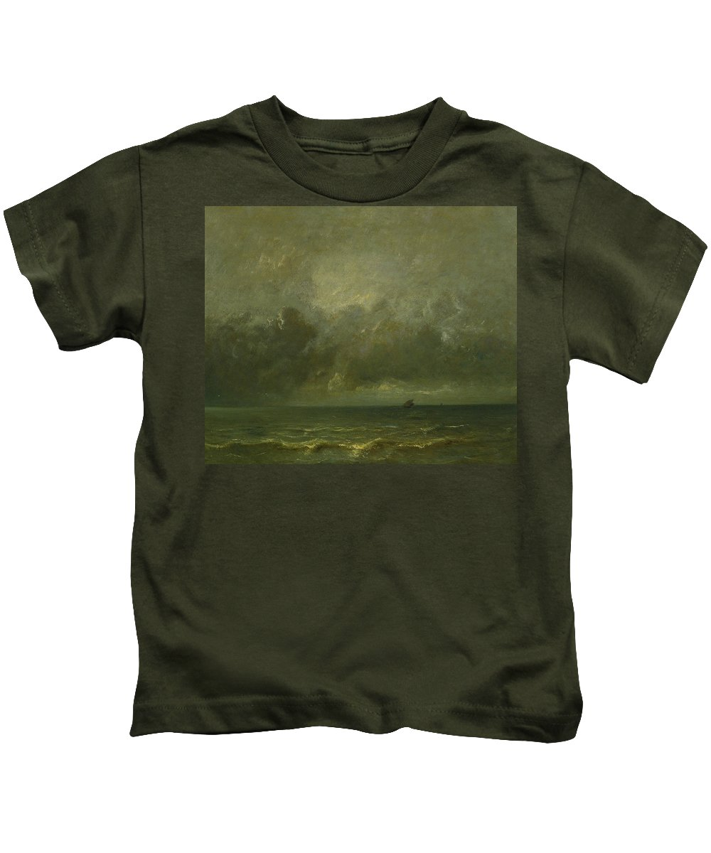 French Art Kids T-Shirt featuring the painting Calm Before The Storm by Jules Dupre