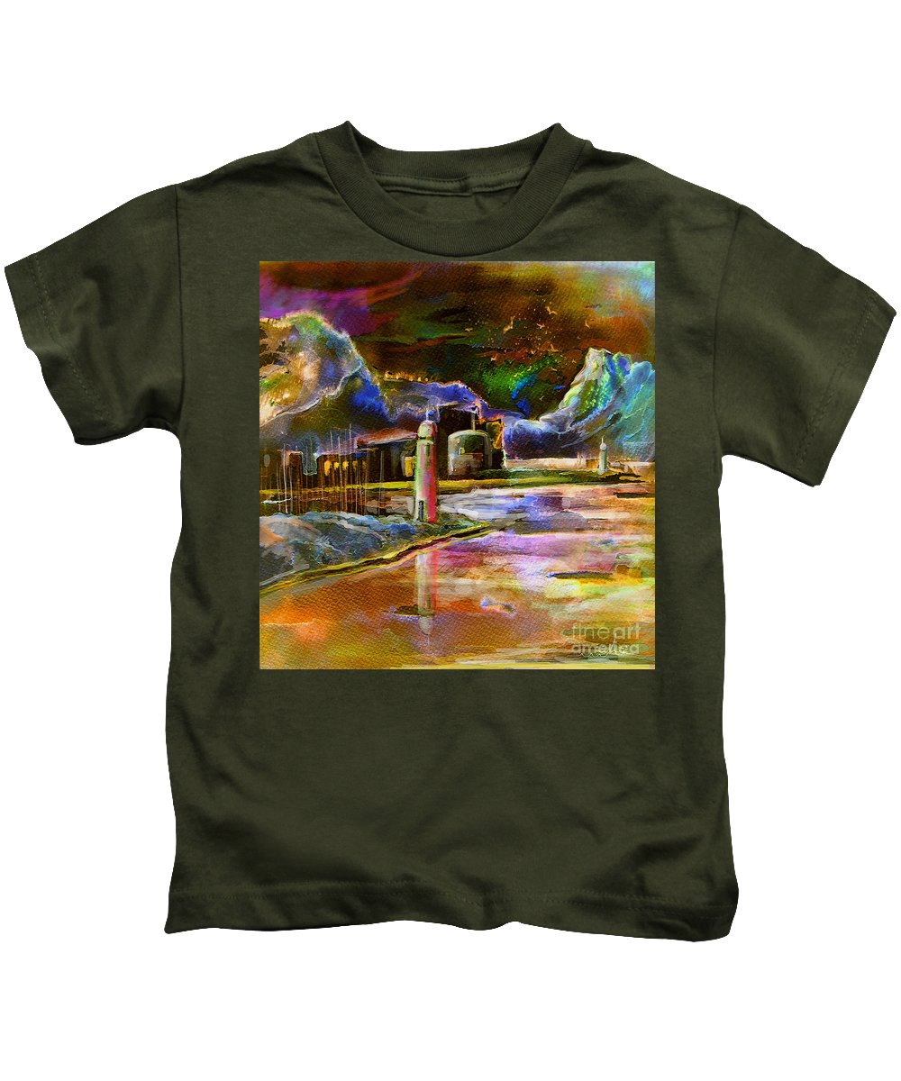 Calpe Kids T-Shirt featuring the painting Calpe 02 Spain by Miki De Goodaboom