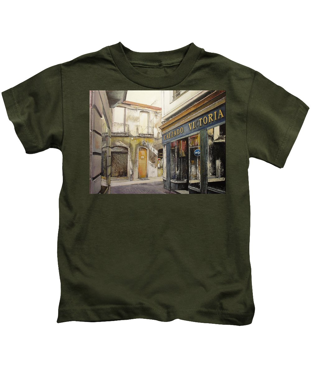 Calzados Kids T-Shirt featuring the painting Calzados Victoria-leon by Tomas Castano