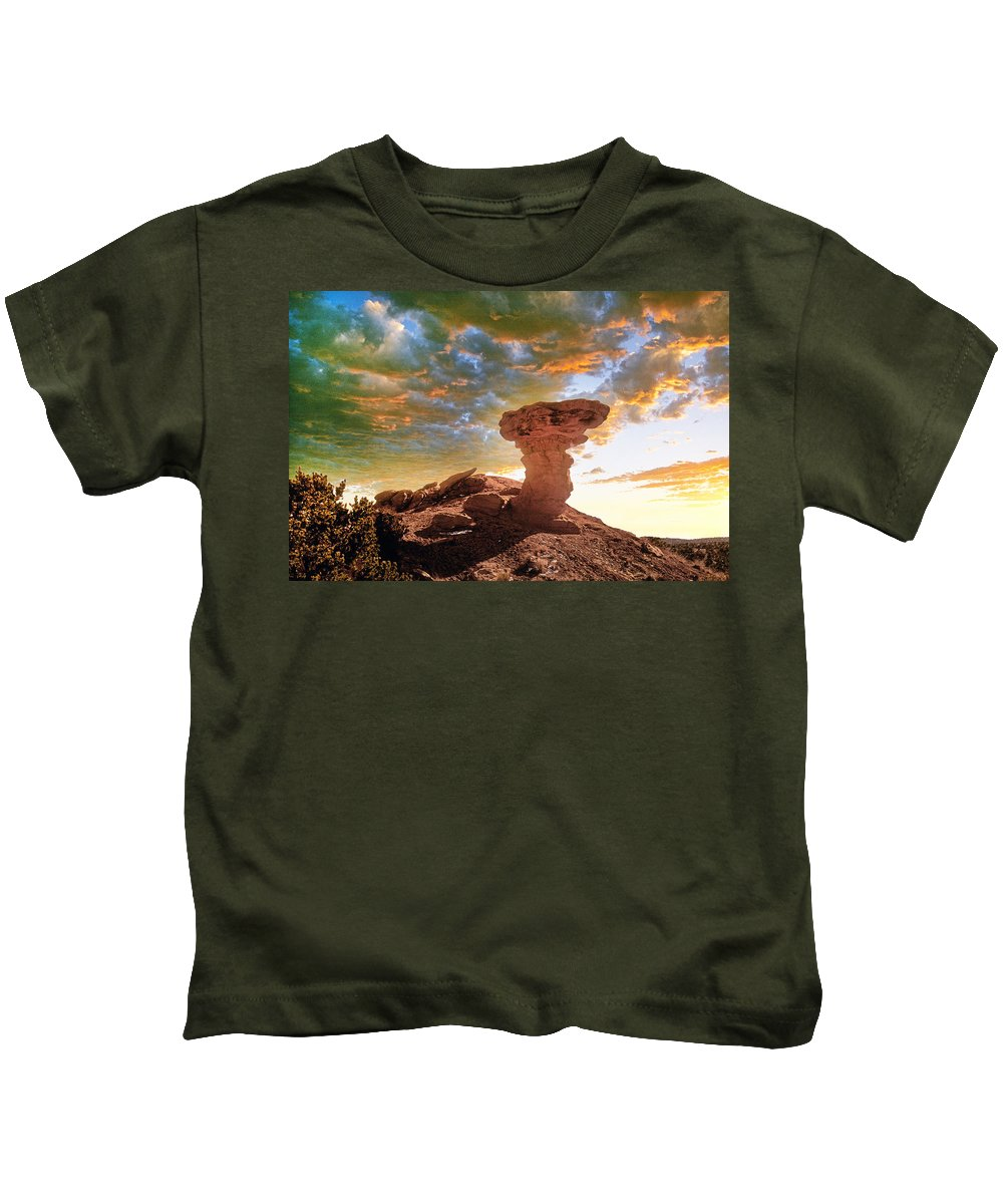 Santa Fe Kids T-Shirt featuring the photograph Camel Rock by Buddy Mays