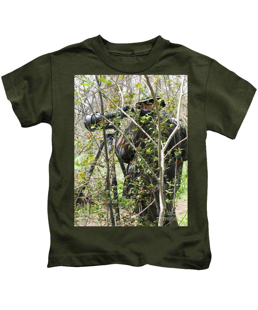 Photographer Kids T-Shirt featuring the photograph Camouflage by Ann Horn