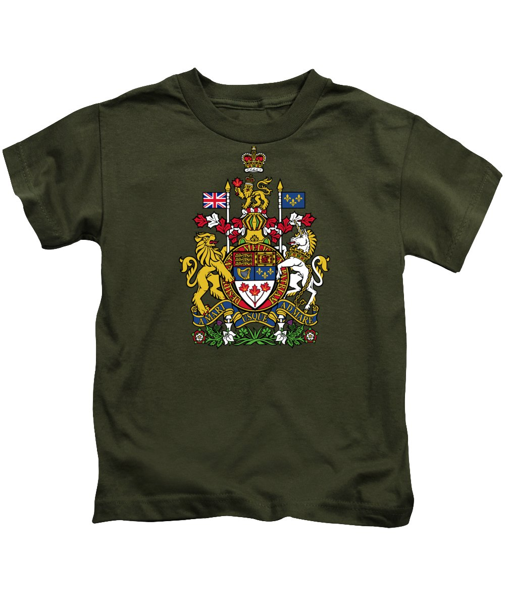 Canada Kids T-Shirt featuring the drawing Canada Coat Of Arms by Movie Poster Prints