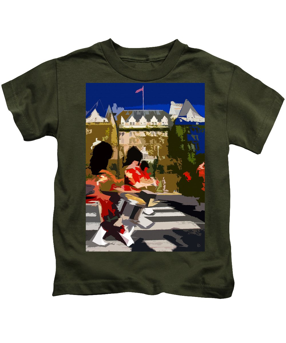 Canada Kids T-Shirt featuring the painting Canadian Drummers by David Lee Thompson