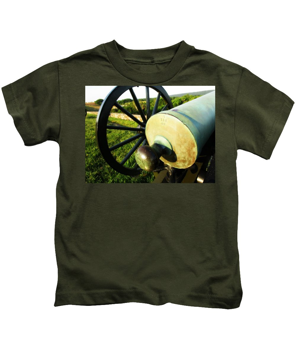Antietam Battlefield Kids T-Shirt featuring the photograph Cannon At Antietam by Lisa Victoria Proulx