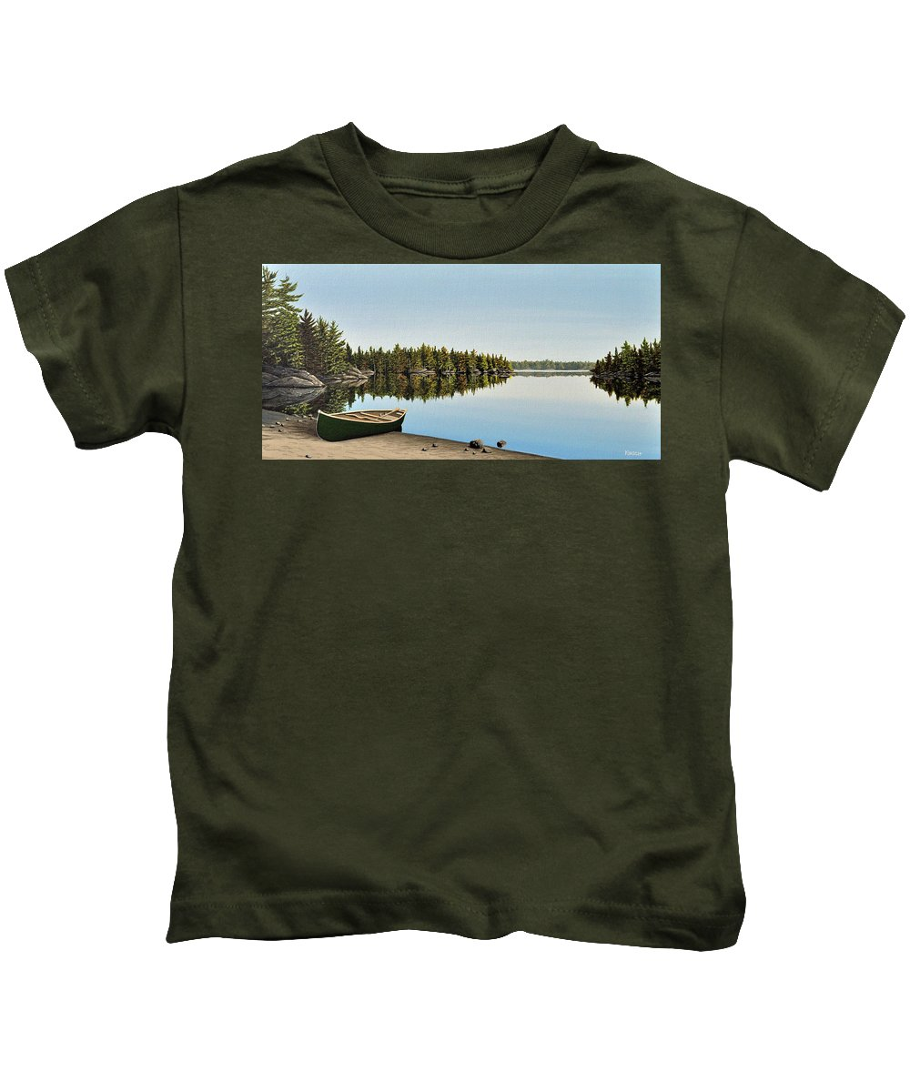 Canoe Kids T-Shirt featuring the painting Canoe The Massassauga by Kenneth M Kirsch