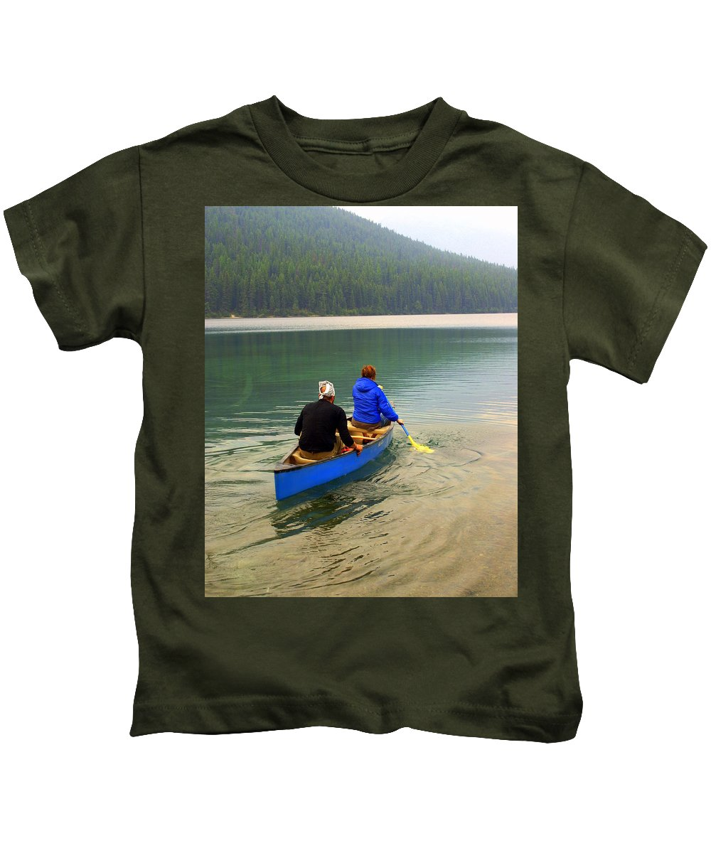 Glacier National Park Kids T-Shirt featuring the photograph Canoeing Glacier Park by Marty Koch
