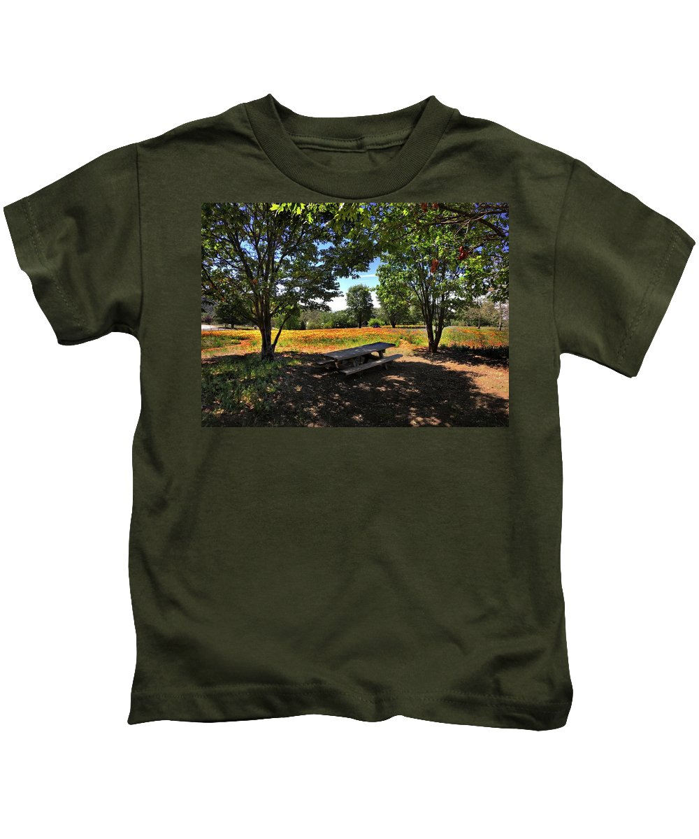 Oak Glen Kids T-Shirt featuring the photograph Canopy Of Shade by Douglas Craig