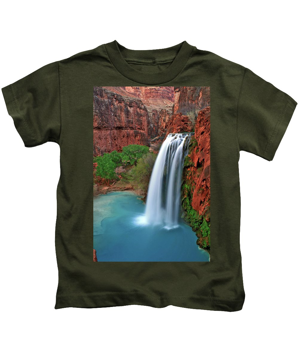 Waterfall Kids T-Shirt featuring the photograph Canyon Falls Vertical by Scott Mahon