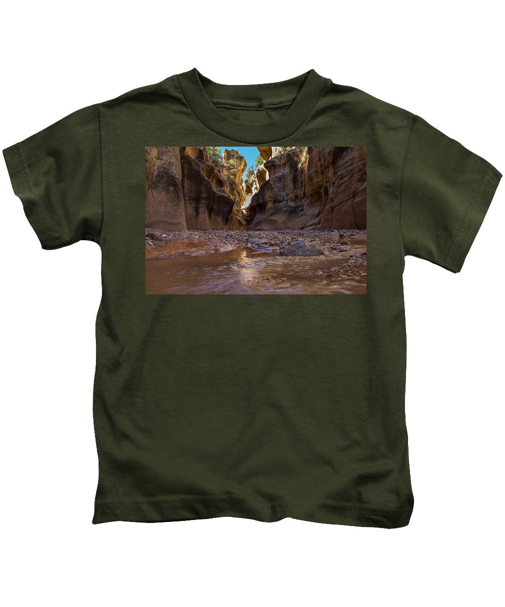 Canyon Kids T-Shirt featuring the photograph Canyon Stream by Kathy Whitehurst