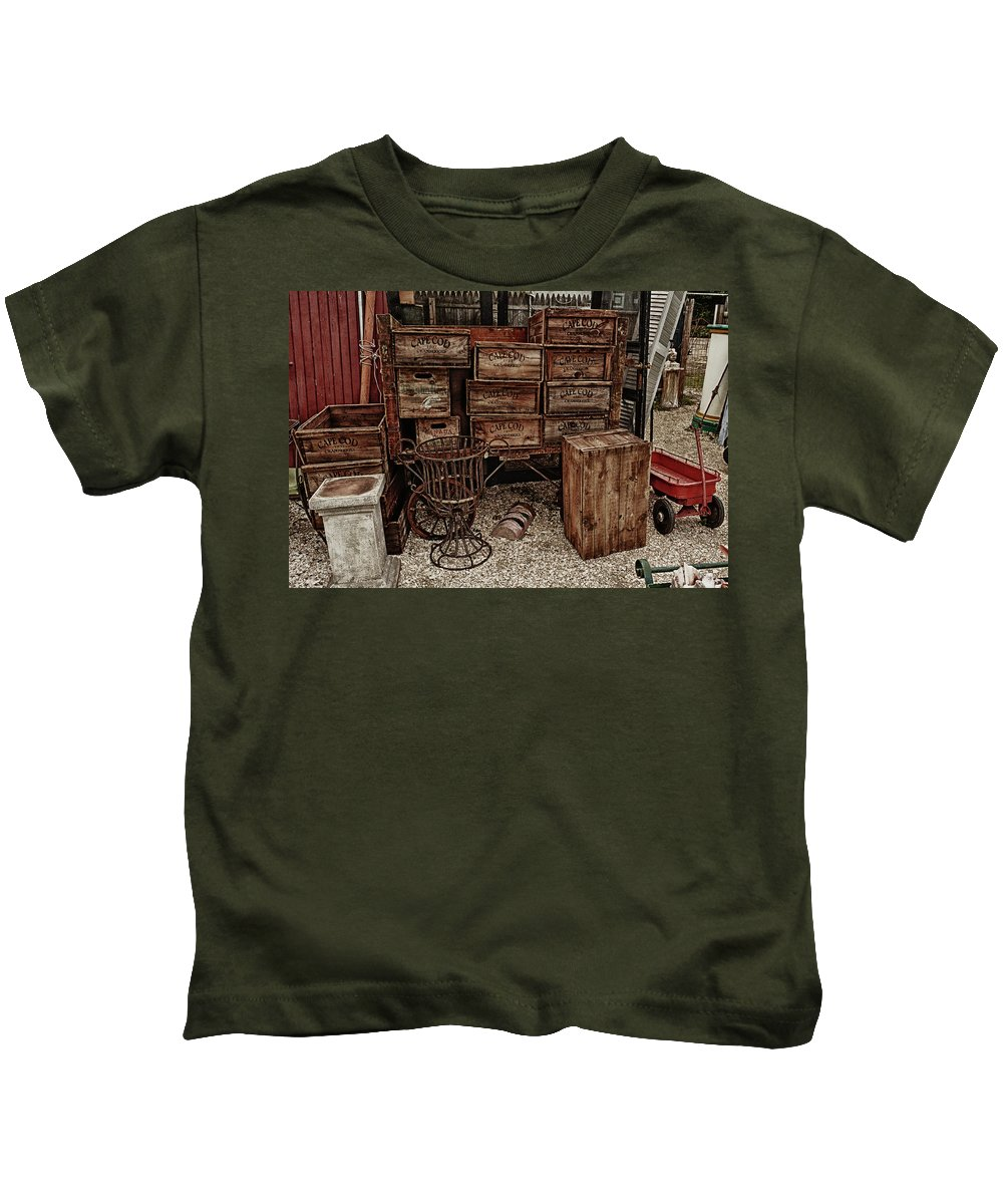 Kids T-Shirt featuring the photograph Cape Cod Cranberry Crates by Garrett Sheehan