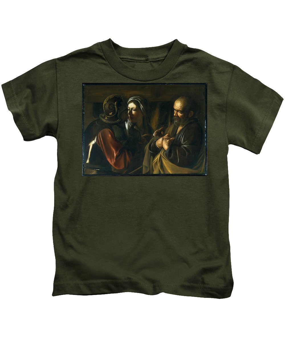 The Denial Of Saint Peter Kids T-Shirt featuring the painting Caravaggio by MotionAge Designs