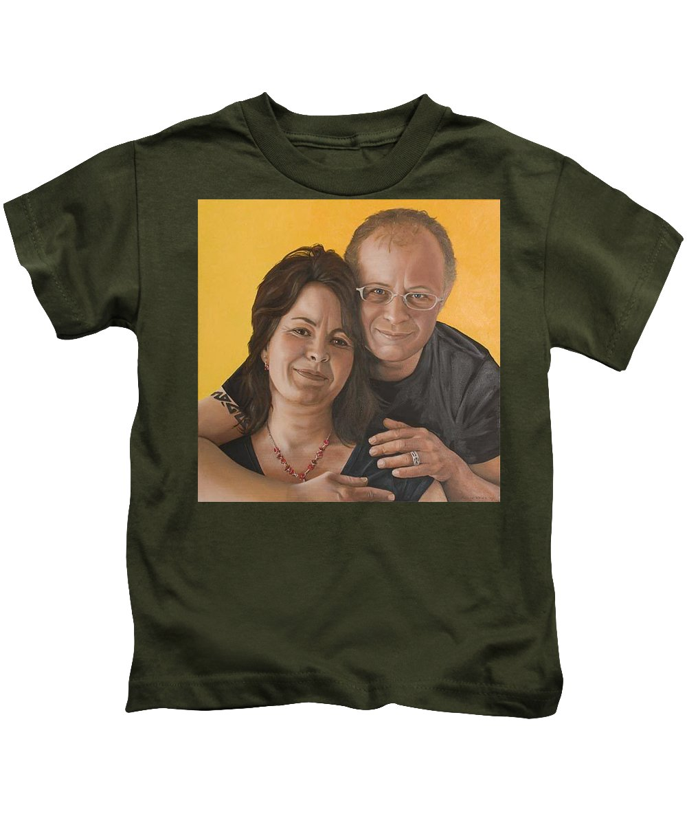 Portrait Kids T-Shirt featuring the painting Caroline And Rob by Rob De Vries