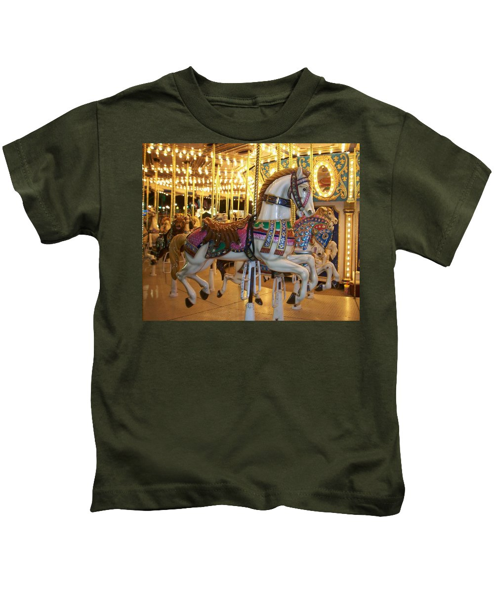 Carosel Horse Kids T-Shirt featuring the photograph Carosel Horse by Anita Burgermeister