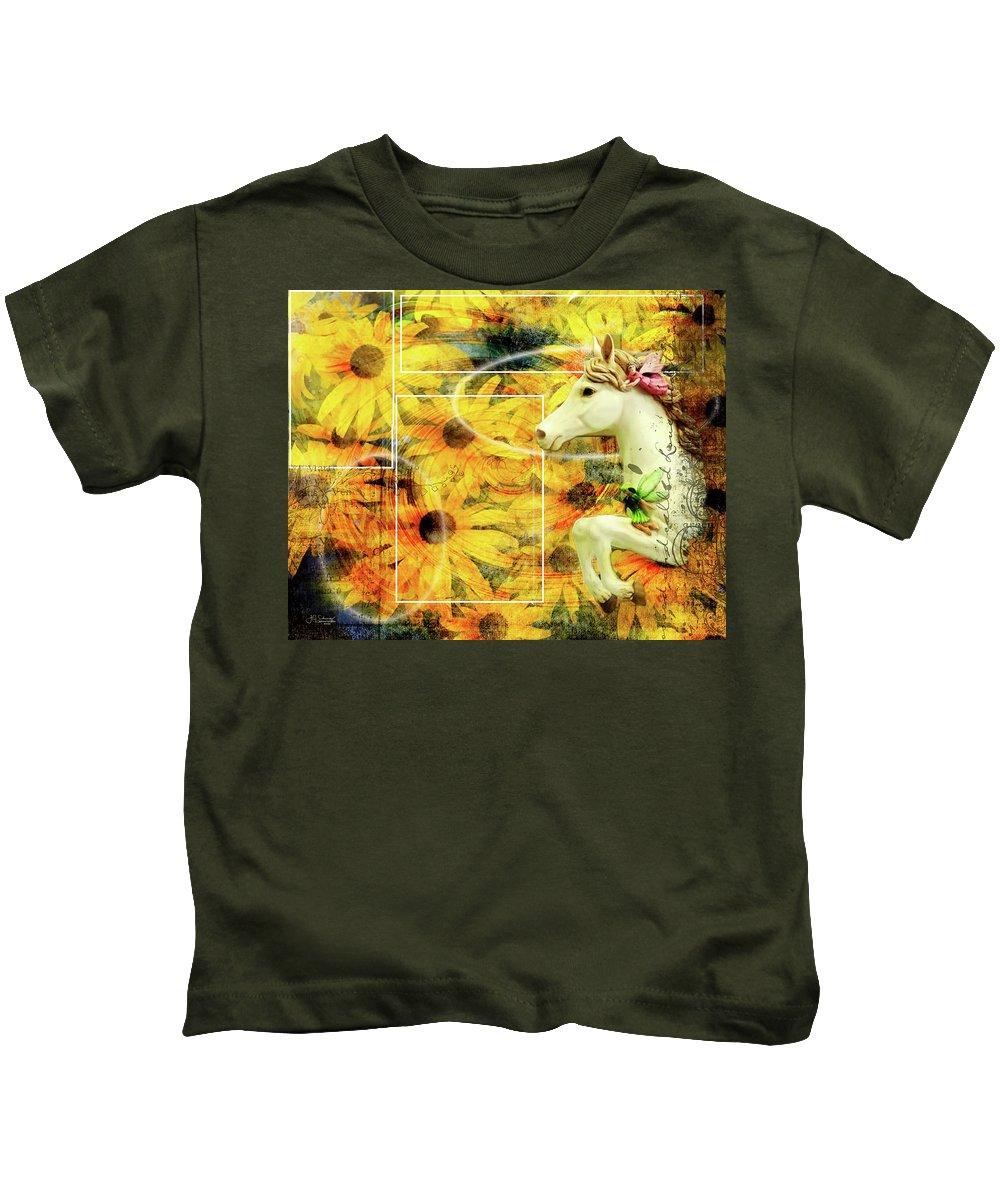 Flowers Kids T-Shirt featuring the photograph Carousel Escape by Allyson Schwartz