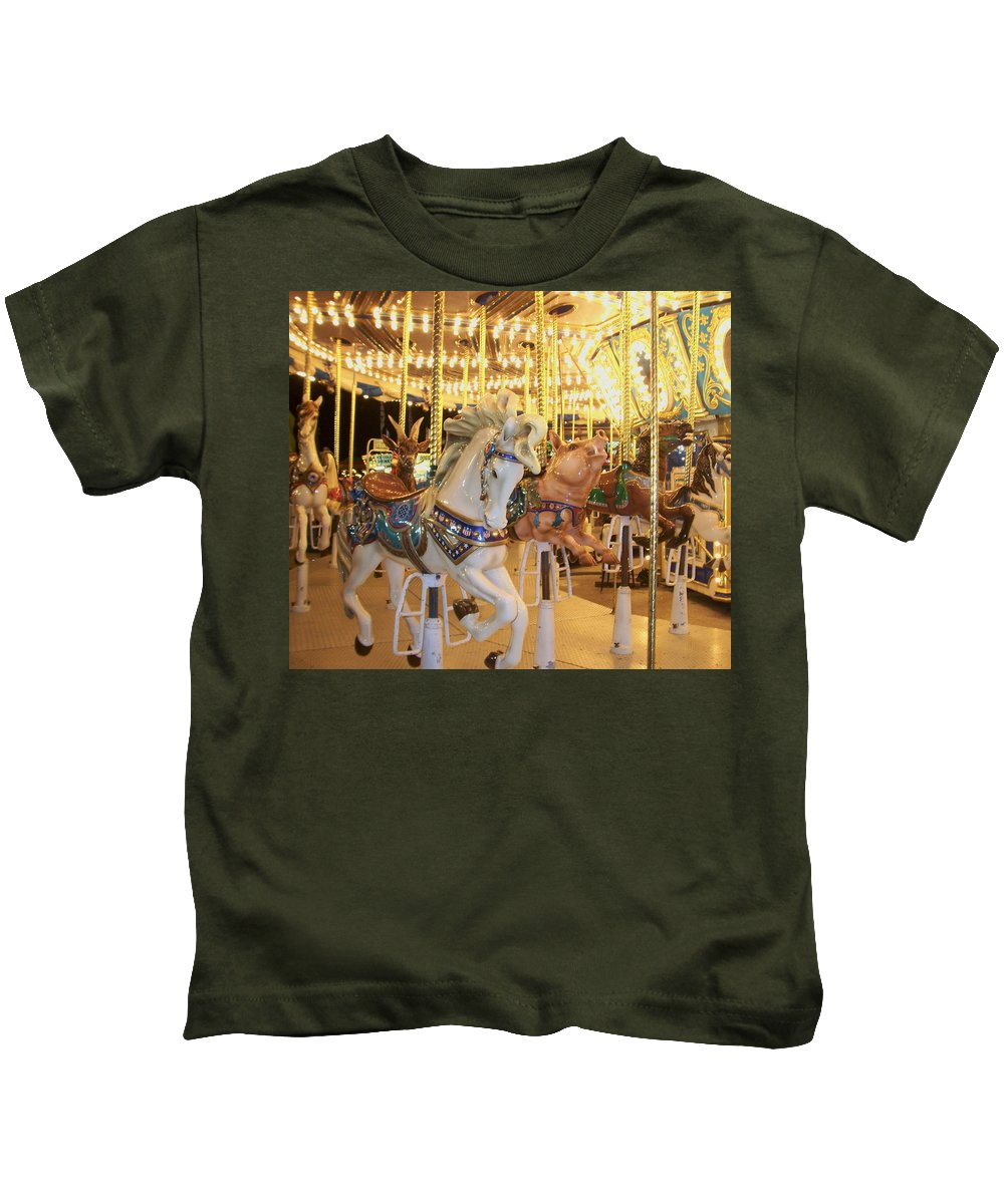 Carosel Horse Kids T-Shirt featuring the photograph Carousel Horse 2 by Anita Burgermeister