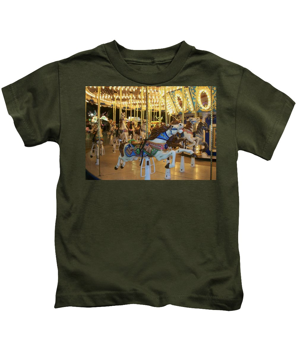 Carousel Horse Kids T-Shirt featuring the photograph Carousel Horse 3 by Anita Burgermeister