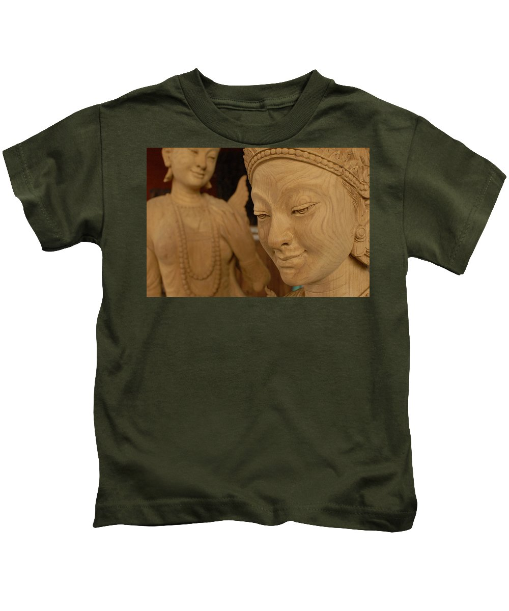 Beauty Kids T-Shirt featuring the photograph Carved Face by Timothy Leonard
