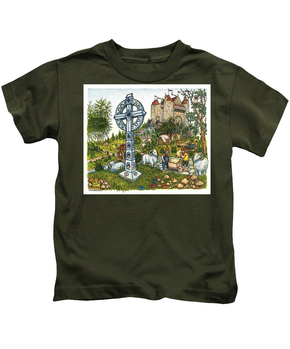 Castle Kids T-Shirt featuring the drawing Castle Cross by Bill Perkins