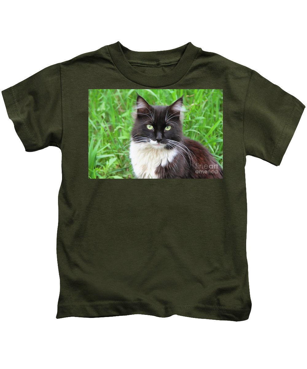 Cat Lawrence Kids T-Shirt featuring the photograph Cat Lawrence by Sergey Lukashin