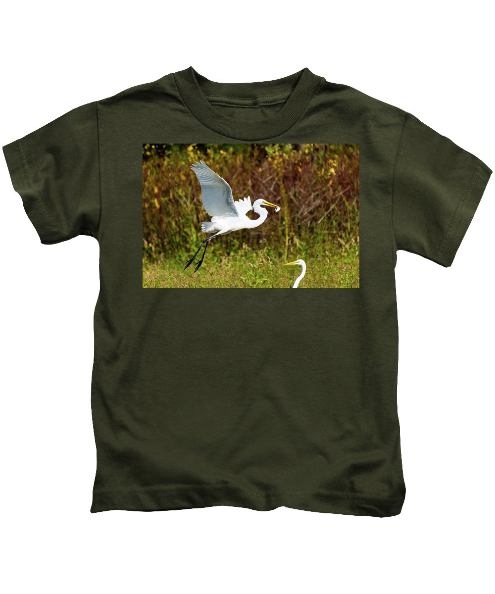 Egret Kids T-Shirt featuring the photograph Catch Of The Day by Henry Kim