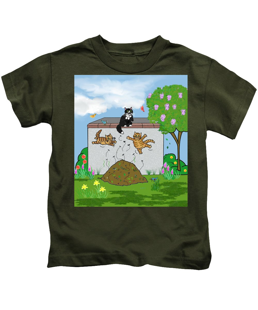Cat Art Kids T-Shirt featuring the painting Tabby Cats Falling by Frances Gillotti