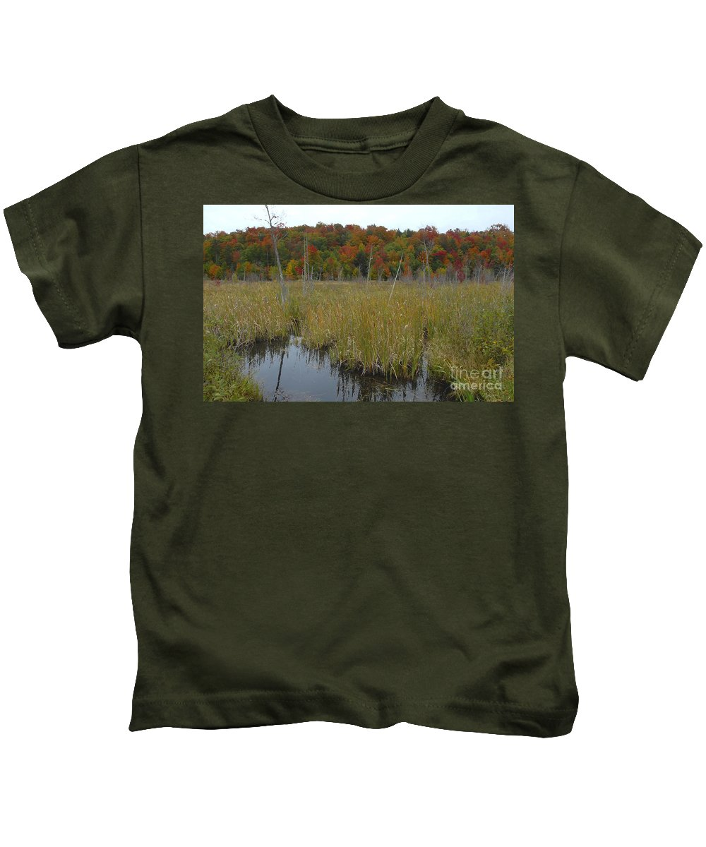 Cattails Kids T-Shirt featuring the photograph Cattails by David Lee Thompson