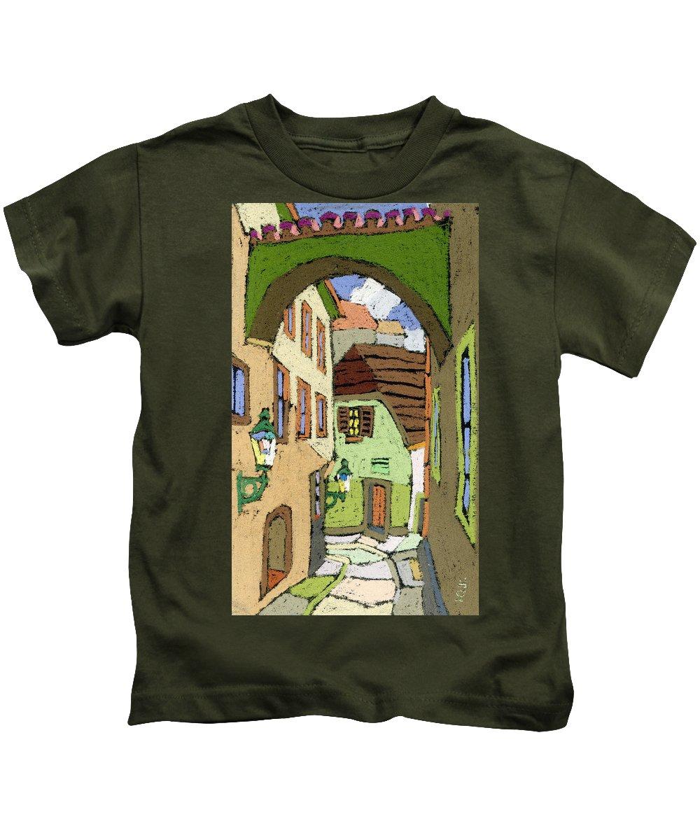 Pastel Kids T-Shirt featuring the painting Cesky Krumlov Masna Street by Yuriy Shevchuk