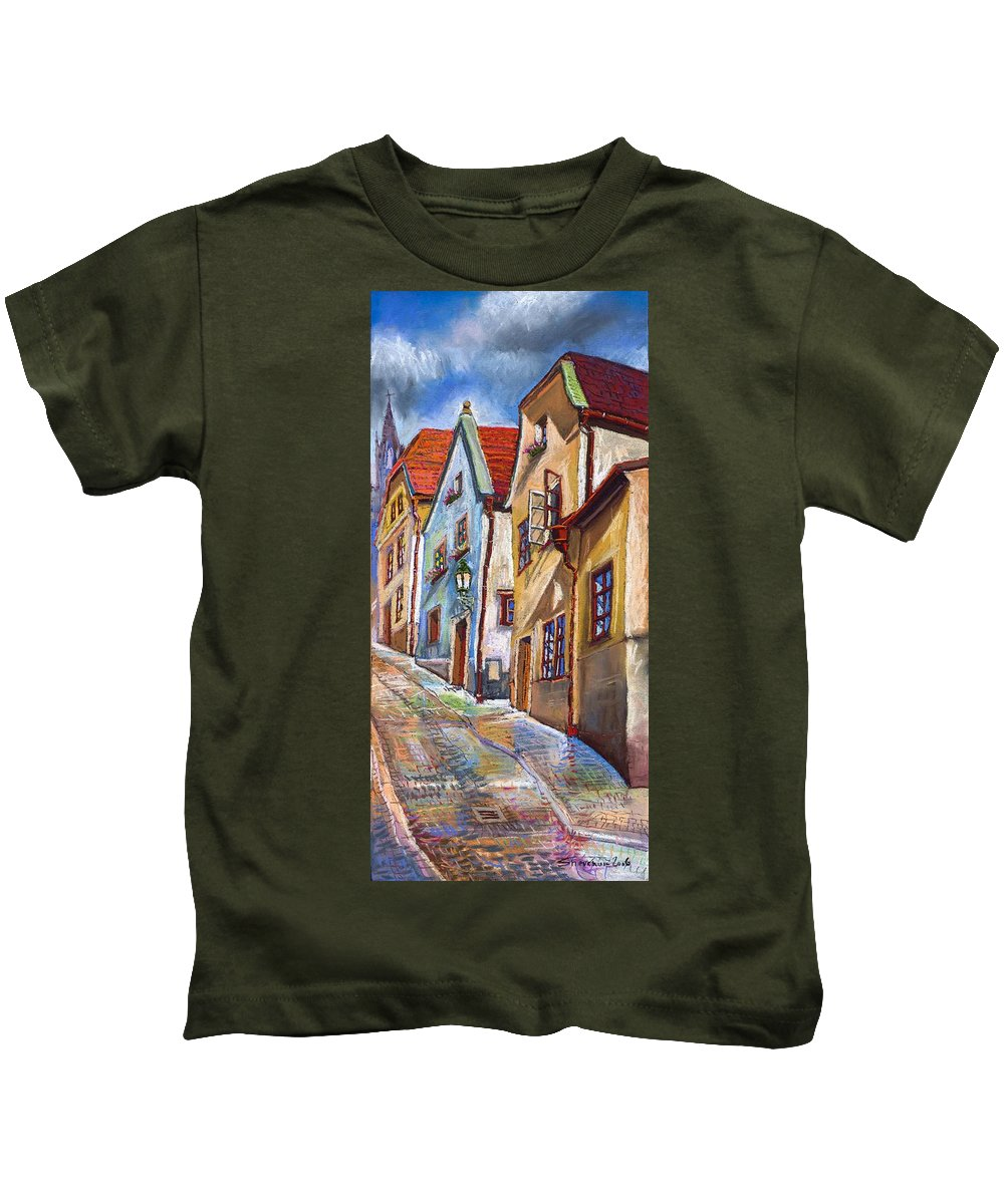Pastel Chesky Krumlov Old Street Architectur Kids T-Shirt featuring the painting Cesky Krumlov Old Street 2 by Yuriy Shevchuk