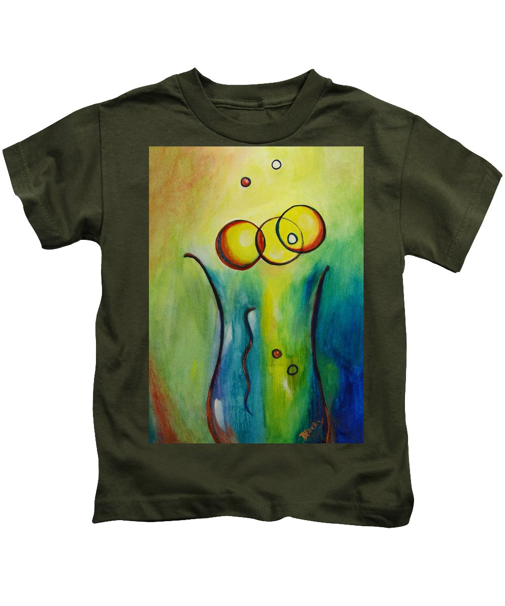 Abstract Kids T-Shirt featuring the painting Champagne by Donna Blackhall
