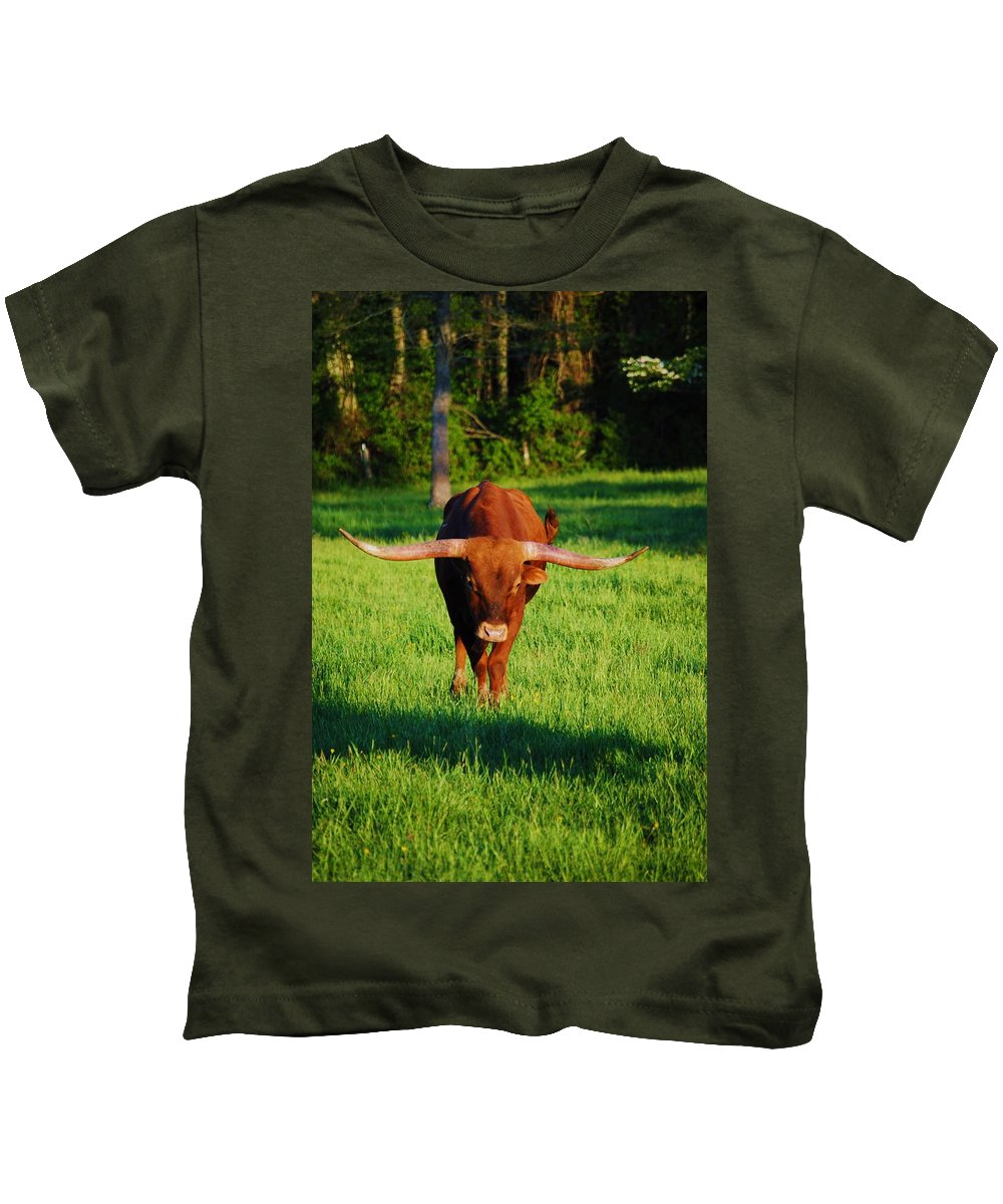 Animal Kids T-Shirt featuring the photograph Charge by Eric Liller