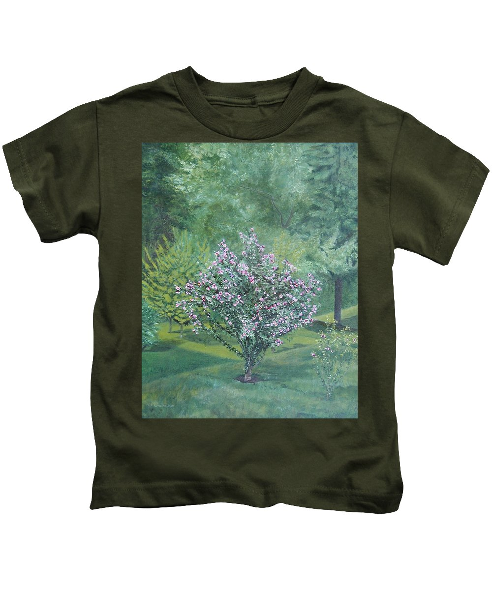 Blooming Kids T-Shirt featuring the painting Charles Street by Leah Tomaino