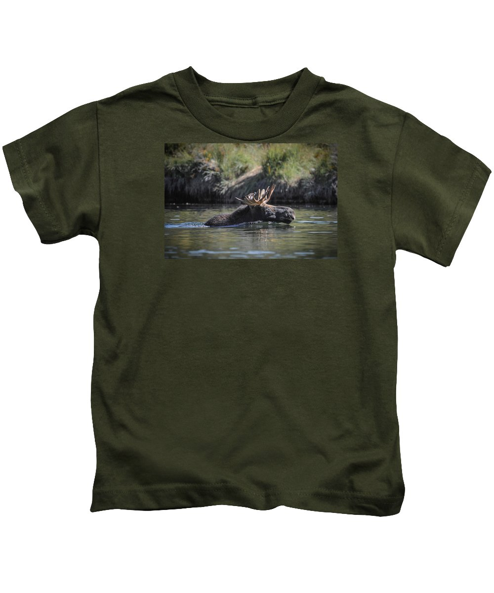 Moose Kids T-Shirt featuring the photograph Chasing Tail by Megan Martens