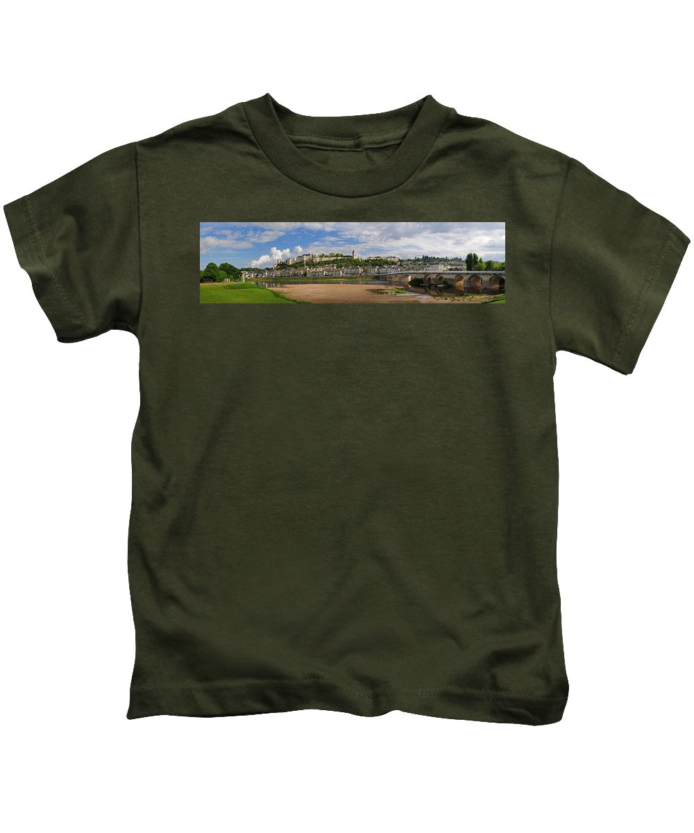 Chinon Kids T-Shirt featuring the photograph Chateau De Chinon Panorama by Dave Mills