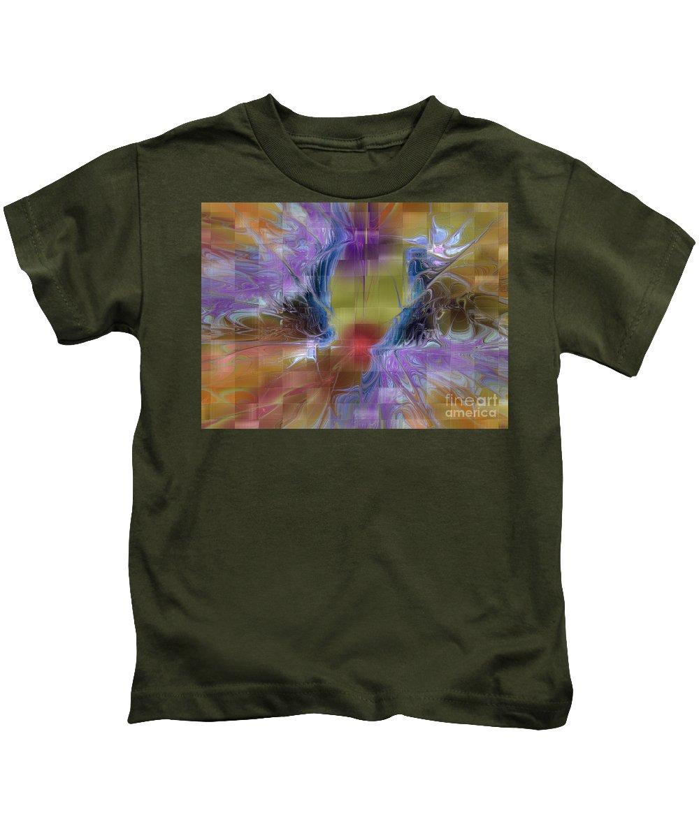 Digital Kids T-Shirt featuring the digital art Checker Square Design by Deborah Benoit