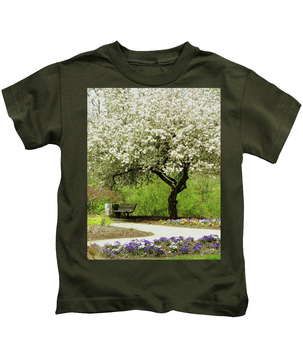 Cherry Tree Kids T-Shirt featuring the photograph Cherry Tree In Full Bloom by Sandi OReilly