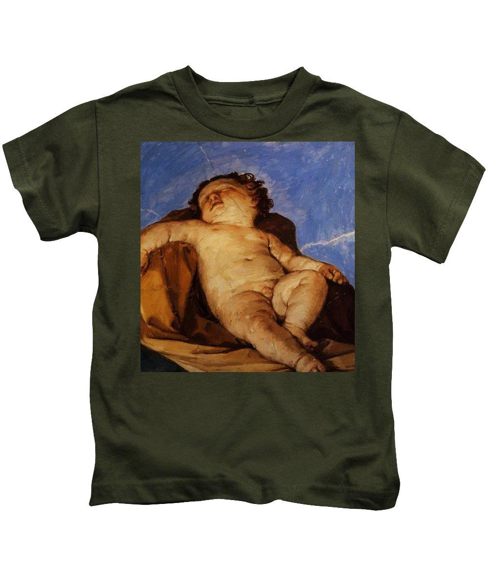 Cherub Kids T-Shirt featuring the painting Cherub Sleeps 1627 by Reni Guido