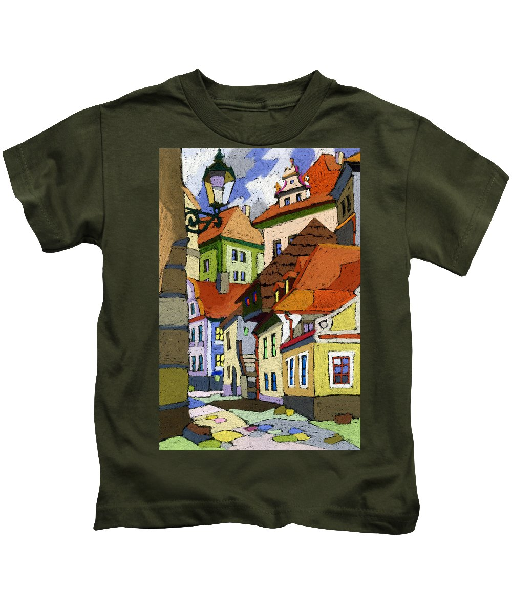 Pastel Kids T-Shirt featuring the painting Chesky Krumlov Masna Street 1 by Yuriy Shevchuk