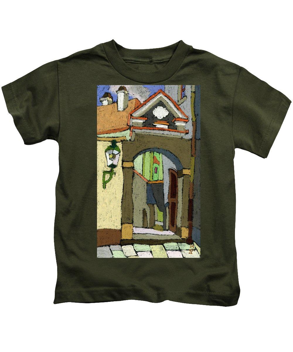 Pastel Kids T-Shirt featuring the painting Chesky Krumlov Old Street Latran by Yuriy Shevchuk