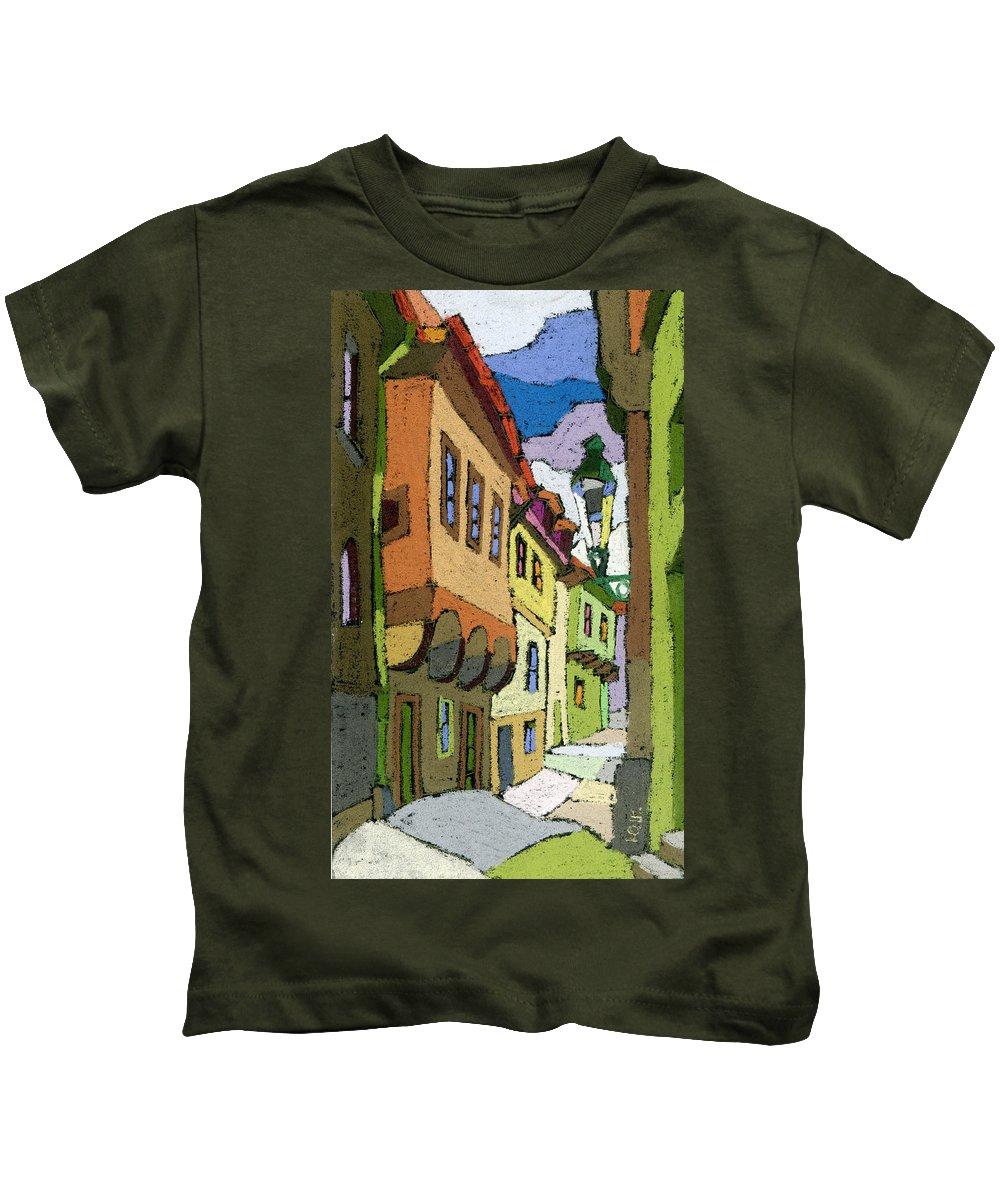 Pastel Kids T-Shirt featuring the painting Chesky Krumlov Street Nove Mesto by Yuriy Shevchuk