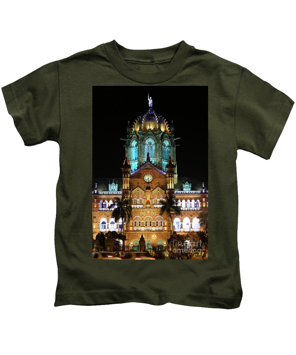 Mumbai Kids T-Shirt featuring the photograph Chhatrapati Shivaji Terminus Formerly Victoria Terminus In Mumbai-3 by Milind Ketkar