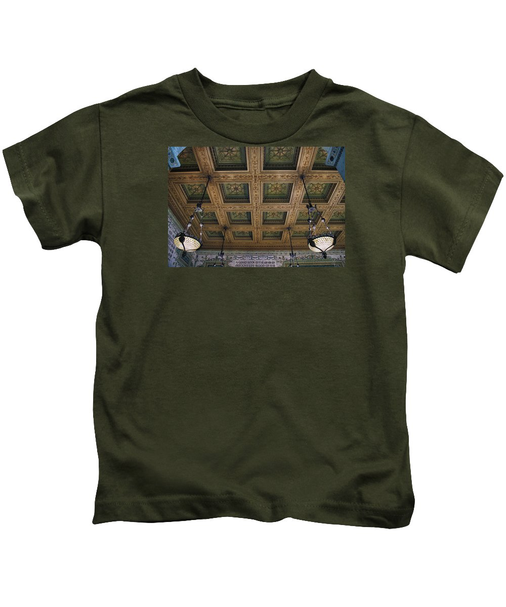 Chicago Cultural Center Kids T-Shirt featuring the photograph Chicago Cultural Center Staircase Ceiling by Thomas Woolworth