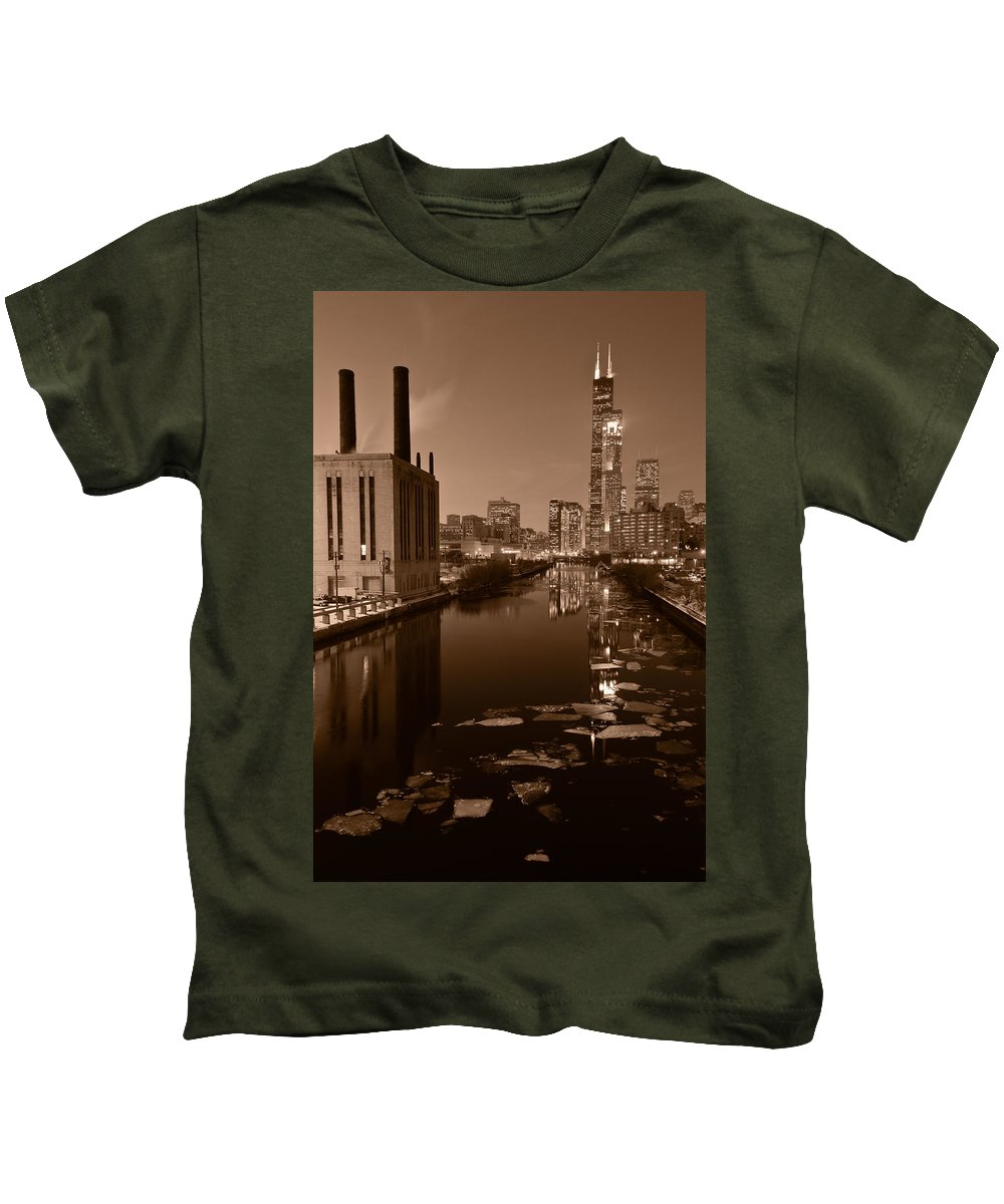 Chicago Kids T-Shirt featuring the photograph Chicago River B And W by Steve Gadomski