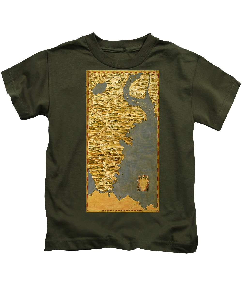 Map Kids T-Shirt featuring the painting Chile And Argentina With The Strait Of Magellan by Italian painter of the 16th century