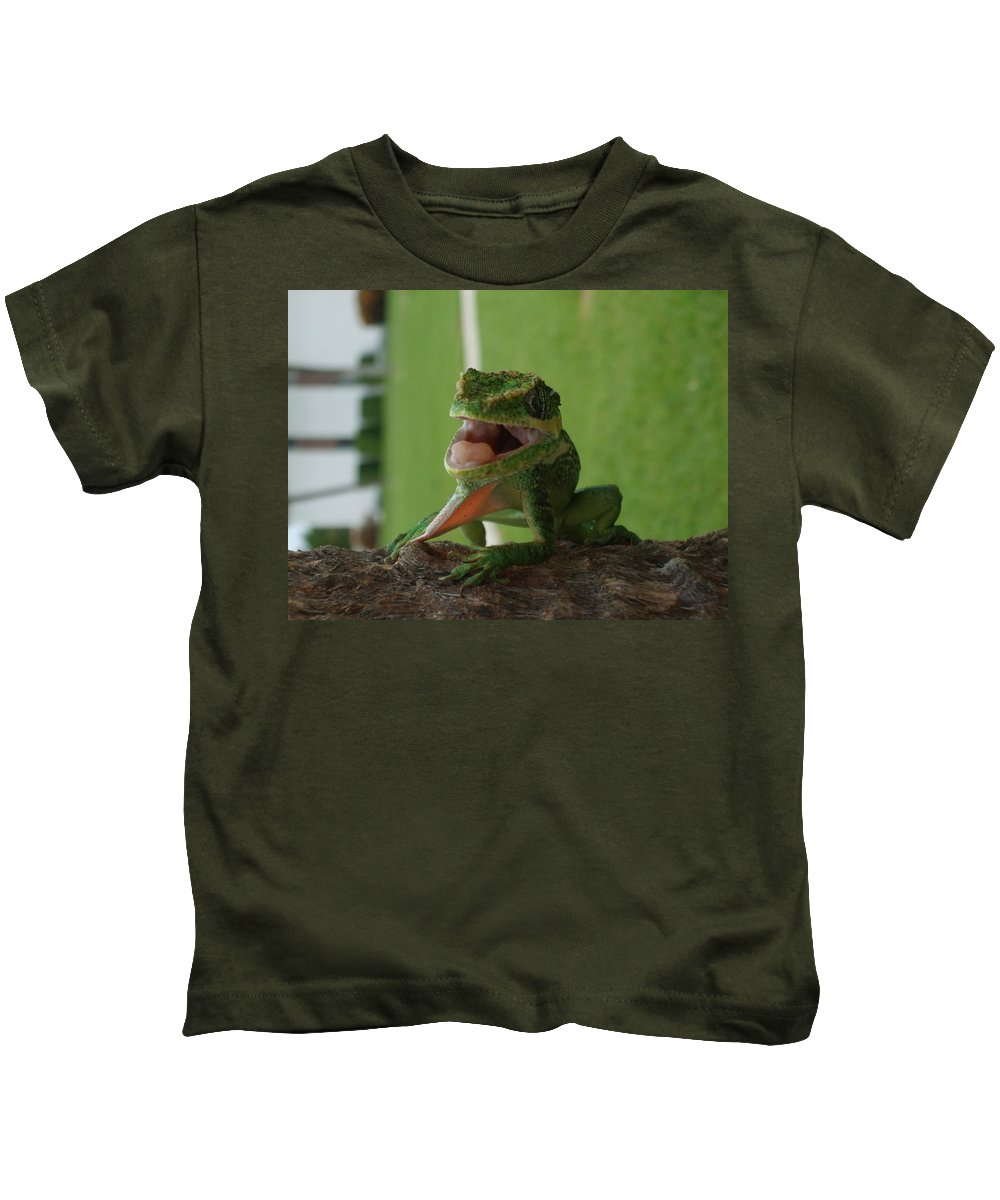 Iguana Kids T-Shirt featuring the photograph Chilling On Wood by Rob Hans