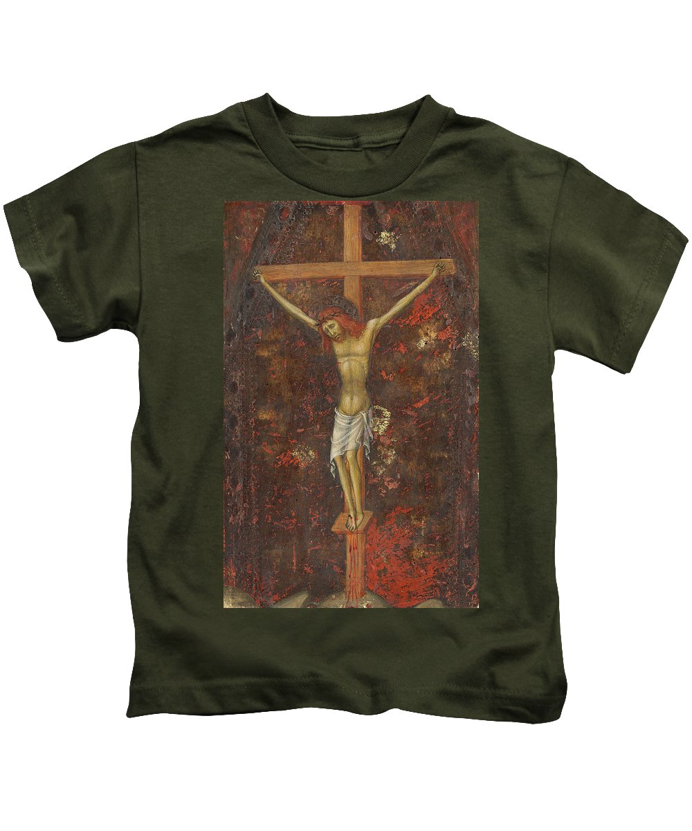 Andrea Di Bartolo Kids T-Shirt featuring the painting Christ On The Cross by Andrea di Bartolo