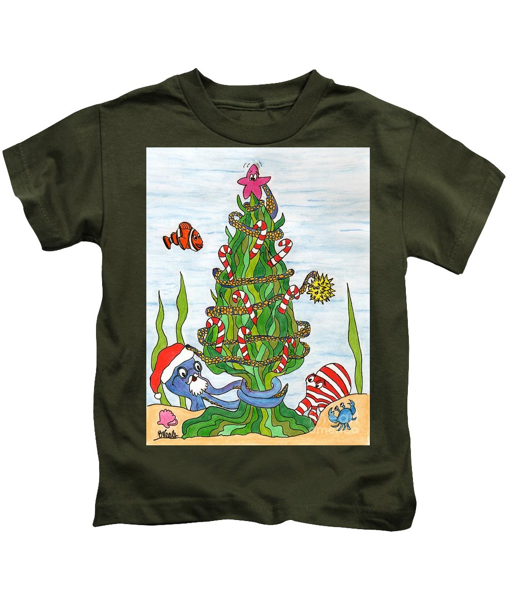 Christmas Kids T-Shirt featuring the drawing Christmas Of The Sea Tree by Bev Veals